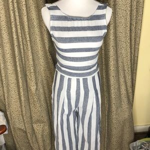 Gray and White Striped Capri  jumper XS